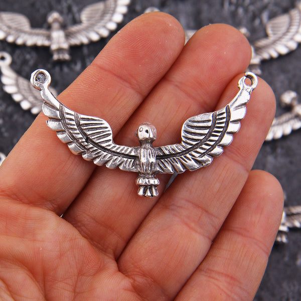 Tribal Eagle Pendant, Boho Eagle Pendant, Double Loop Pendant, Silver Bird Pendant, Flying Eagle, Jewelry Making, 56x30 mm, 1 pc // SP-441