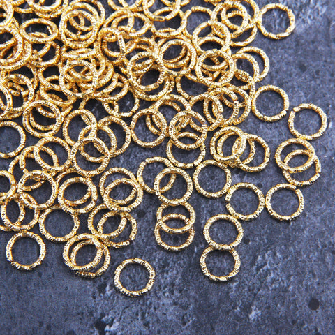 Open Jump Ring, Twisted Jump Rings, Shiny Gold Rings, 15 pcs, 10 mm // GF-192