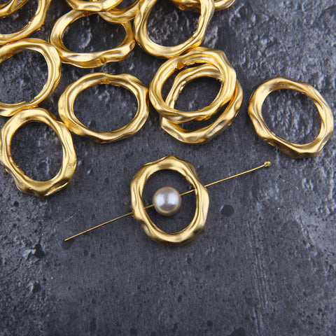 Oval Bead Frames, Gold Bead Spacer, Bead Frames, Oval Frame Beads, Gold Frame Beads, 3 pcs, 20,50x25x13,5 mm // GB-292