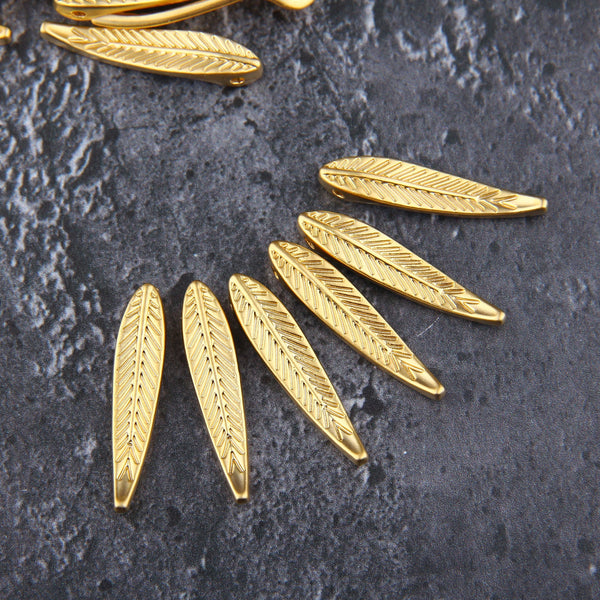 Leaf Slider Beads, Gold Leaf Charms, Slider charms, Leaf Charms, 6 pcs, 6x30 mm // GCh-346