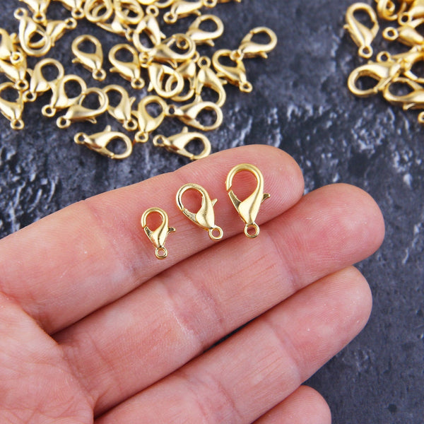 Lobster Claw Clasps, Gold Parrot Clasps, Medium Lobster Clasps, Bracelet Clasps, Necklace Clasps, 8 pcs, 7x12 mm // GF-196