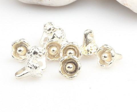 Shiny Silver Plated Mini Daisy Charms, Floral Charms, Silver Flower Charms, 10 pcs // SPCh-052
