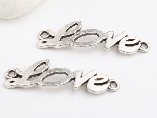 Silver Plated Love Letter Connectors, 2 pieces // SPC-091