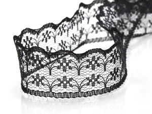 SALE, XCBlack Lace Trim Ribbon,  3.3 feet, 1 meter // TRM-0016