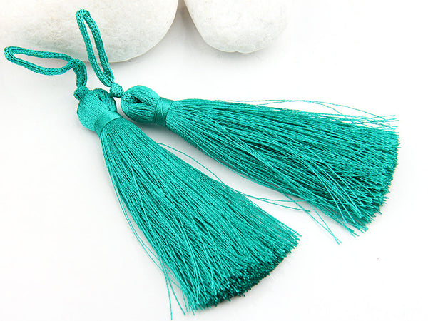 Aqua Green, Silk Thread Tassels, 2 pieces - Jewelry Supplies  // TAS-016