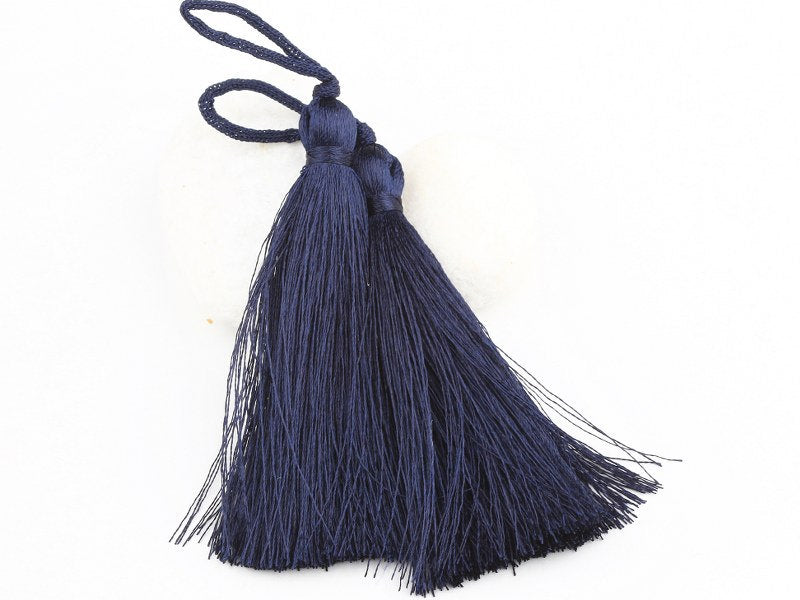Navy Blue, Silk Thread Tassels, 2 pieces - Jewelry Supplies  // TAS-016
