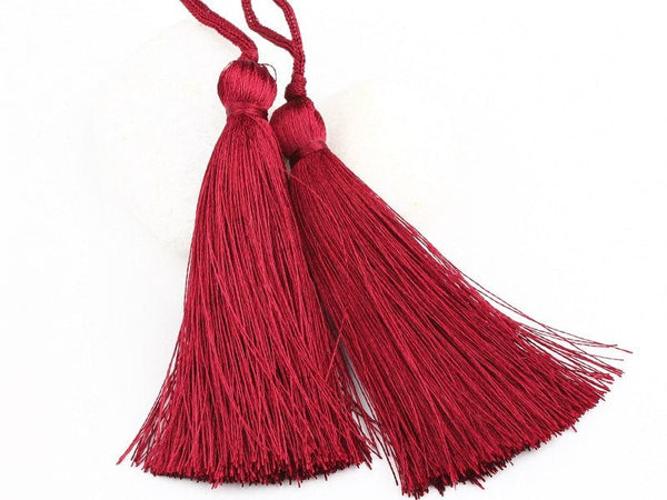 Dark Cherry, Silk Thread Tassels, 2 pieces - Jewelry Supplies  // TAS-016