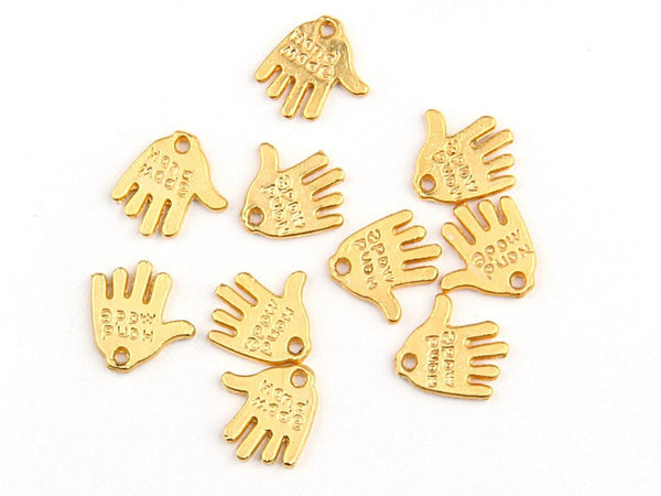 Gold Handmade Stamped Hand Charms, Name tag charms, 10 pieces - Jewelry Supplies //  GPCh-107