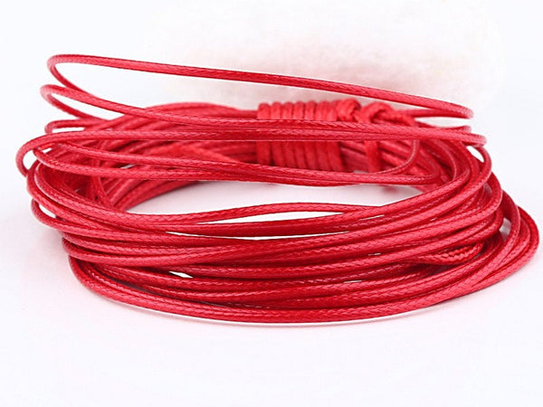 SALE, Red, Waxed Parachute Cord String, 5 meter - 16,40 feet // CRD-0012