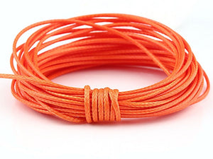 SALE, Orange, Waxed Parachute Cord String, 5 meter - 16,40 feet // CRD-0012