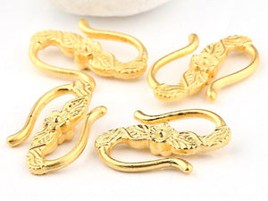 Floral S Shaped Hook Clasps, 22k Matte Gold Plated, 4 pieces - Clasp Supplies // GFND-056