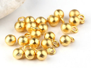 Mini Gold Drop Ball Charms, 20 pieces // GPCh-113