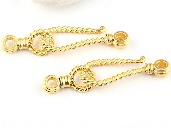 Large Twisted Hook and Eye Clasps,22k Matte Gold Plated, 2 pairs // GFND-062