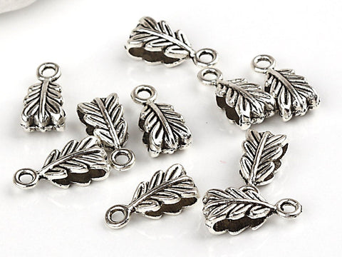SALE, Mini Leaf Pendant/Charm Bails, Silver Tone, 10 pieces, Bail Supplies // SFND-051