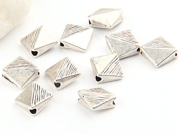 Flat Diamond Silver Bead Spacers, 10 pieces // SBEA-039