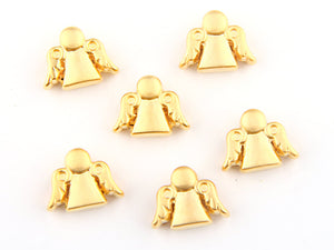 Gold Angel Bead Spacers, Angel Bead Slider, Angel Cord Slider, 6 pieces// GBEA-060