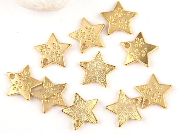 Gold Star Charms, 22k Matte Gold Plated, 14mm, 10 pieces // GPCh-145
