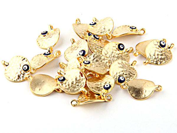 SALE, Gold Plated Hammered Curved Disc Connector with Evil Eye Accent, 2 pieces // GPC-354