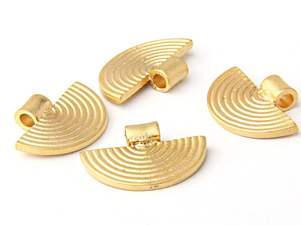 Matte Gold Plated Tribal Charms, Ethnic Gold Charms, Semi Circular, 4 pieces //  GPCh-150