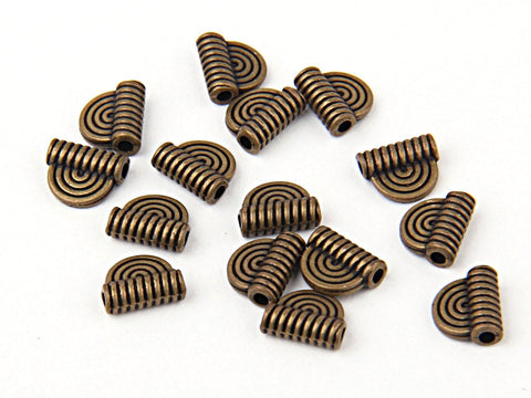 Antique Bronz Mini Semi Circular Tribal Charms, 15 pieces // ABCh-035