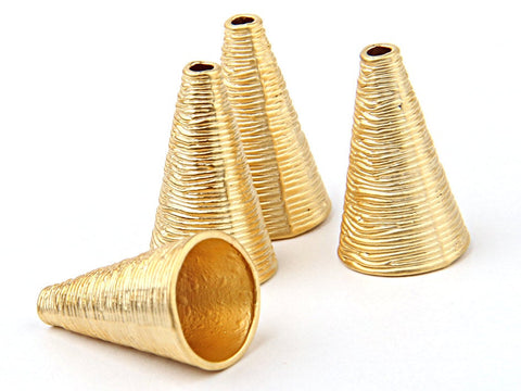 Gold Organic Cone Bead End / Cord End / Tassel Cap, 22k Gold Plated, 4 pieces //  GFND-084