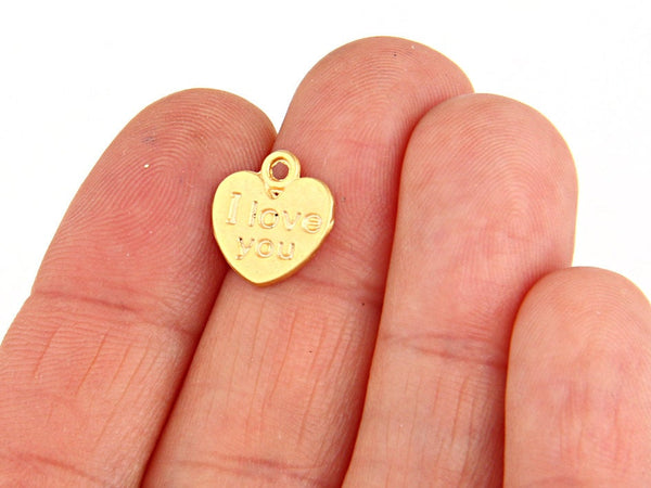 I love you Charms, Love Charms, Heart Charms, 22k Matte Gold Plated, 10 pieces // GPCh-153