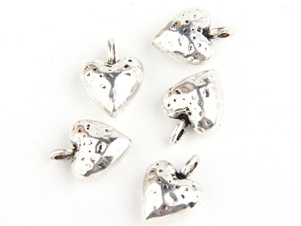 Plump Hammered Heart Charms, Shiny Silver Plated, 5 pieces // SCh-094