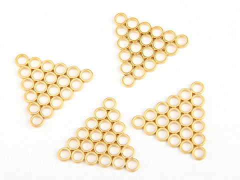 Gold Plated Triange Connectors with 3mm Mini Circles, 4 pieces // GC-361