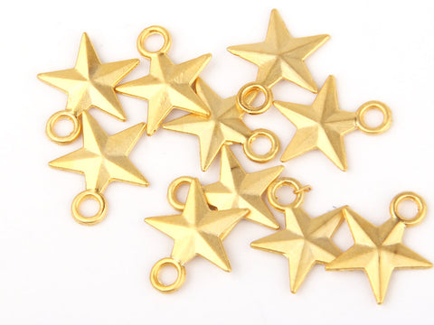 Gold Plated Star Charms, 10 pieces // GCh-155