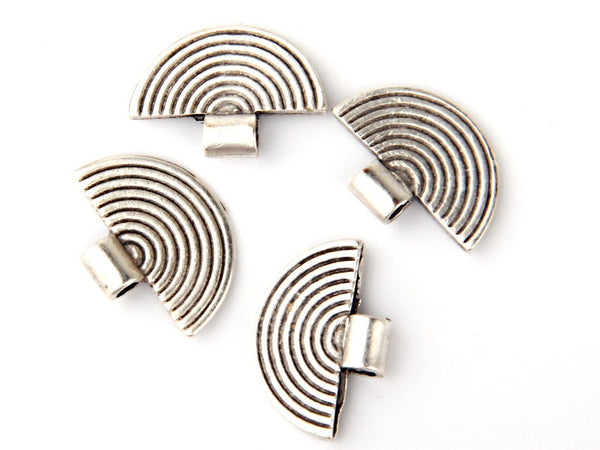 Matte Silver Plated Tribal Charms, Ethnic Silver Charms, Semi Circular, 4 pieces // SCh-097
