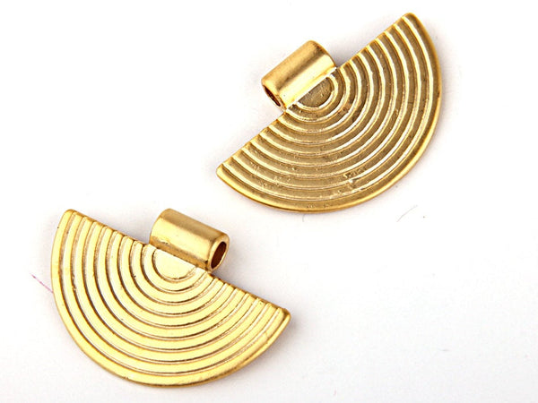 LargeTribal Charms Gold Plated,, Tribal Pendants, Ethnic Gold Charms, Semi Circular, 2 pieces // GP-351
