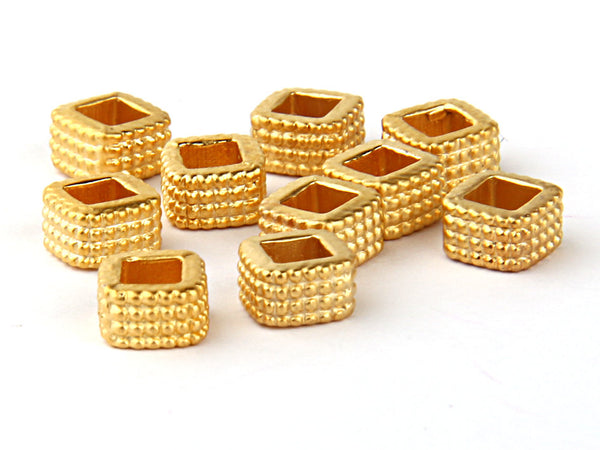 Open Square Chequered Bead Sliders, Gold Plated, 10 pieces // GB-082