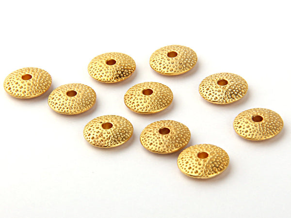 Spongy Round Disc Beads, Gold Plated, 10 pieces // GB-083