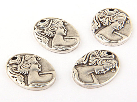 Silver Plated Oval Lady Cameo Charms, Lady Charms, Victorian Lady Charms, 4 pieces // Sch-100