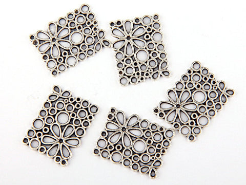 Floral Cut out Rectangular Connector, Silver Plated, 5 pieces // SC-148