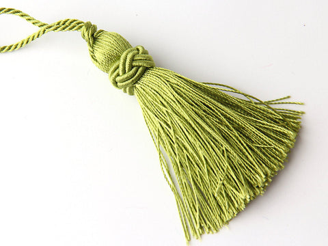 Olive Green, Shiny Satin/Dacron Thread Tassel with Chinese Knot Band, 1 piece // TAS-074