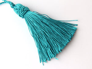 Aqua Green, Shiny Satin/Dacron Thread Tassel with Chinese Knot Band, 1 piece // TAS-074