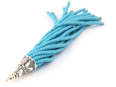 SALE, Blue, Afghan/Tibetan Heishi Seed Bead Tassel with Shiny Silver Plated Cap, Beaded Boho Tassel, 1 pc // TAS-075