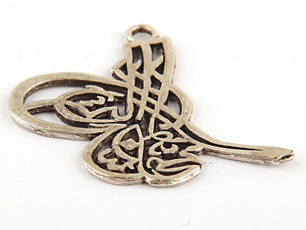 SALE, Silver Plated Ottoman Tughra Pendant, Traditional Pendant, 1 piece // SP-221