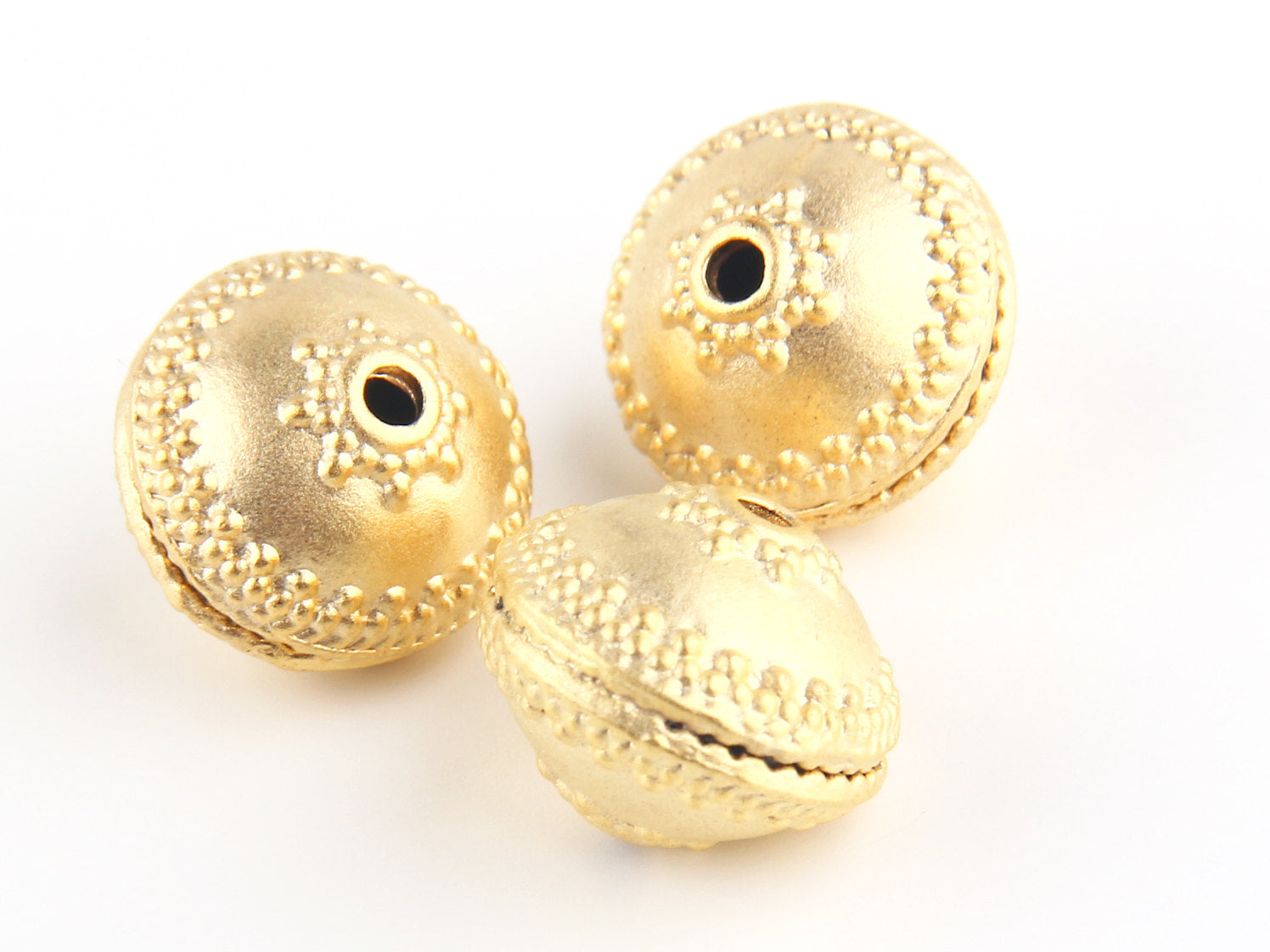 Matte Gold Large Dotted Saucer Beads, Saucers Beads, Bead Spacers,3 pieces // GB-106