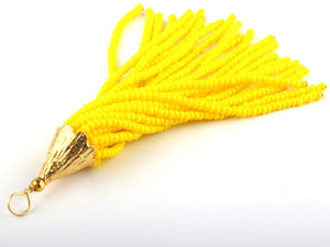 Yellow, Seed Bead Tassel, Boho Tassel, Beaded Tassel, 1 pc, 90 mm / 3,5'' // TAS-080