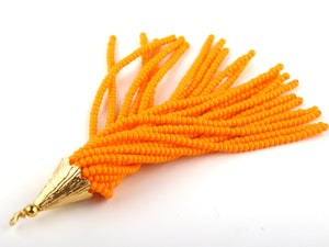 Light Orange, Seed Bead Tassel, Boho Tassel, Beaded Tassel, 1 pc, 90 mm / 3,5'' // TAS-080