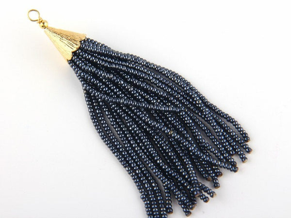 Charcoal, Seed Bead Tassel, Boho Tassel, Beaded Tassel, 1 pc, 90 mm / 3,5'' // TAS-080