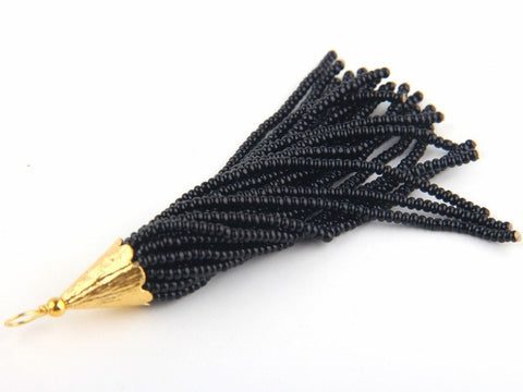 Black, Seed Bead Tassel, Boho Tassel, Beaded Tassel, 1 pc, 90 mm / 3,5'' // TAS-080