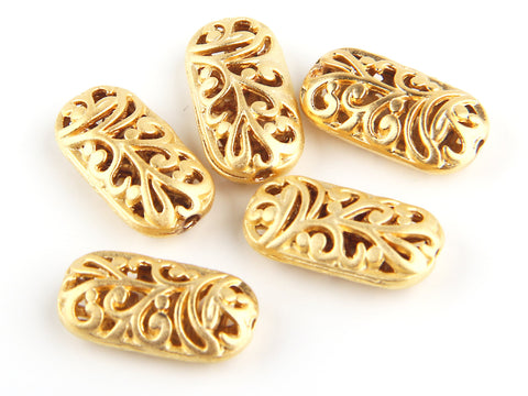 Matte Gold Hollow Out Floral Rectangular Bead Spacer, Rectangular Bead Spacers, 5 pieces // GB-107