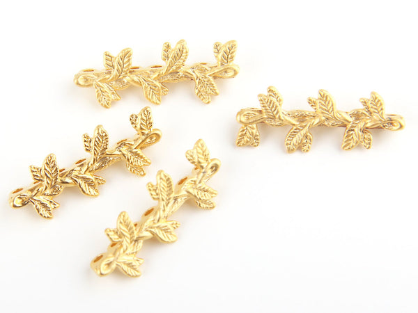 Floral / Leaf Strand Separator Connector, 7 hole,  22k Matte Gold Plated, 4 pieces // GF-092
