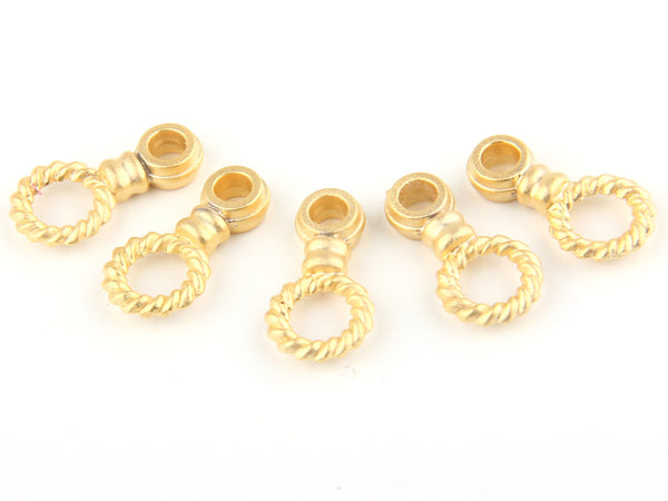 Twisted Circle Connector, 22k Matte Gold Plated, 5 pieces // GC-375