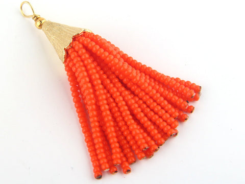 Hot Orange, Short Seed Bead Tassel, Boho Tassel, Beaded Tassel, 1 pc, 52-58 mm // TAS-081