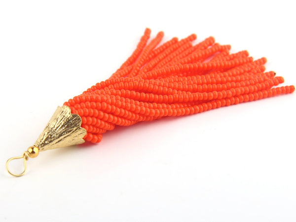 Hot Orange, Seed Bead Tassel, Boho Tassel, Beaded Tassel, 1 pc, 90 mm / 3,5'' // TAS-080