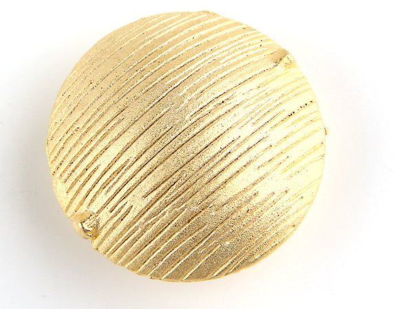 SALE, Large Textured Round Hollow Statement Bead, Large Pillow Bead, Matte Gold plated, 1 piece // GB-110